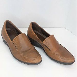 Ecco Brown Leather Loafers Womens Size 40 US 9 - 9